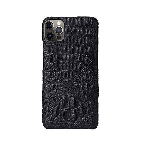 Funda de lujo para teléfono de negocios, piel de cocodrilo a prueba de golpes, transpirable para iPhone 12 Pro Max [protección de pantalla y cámara], calavera