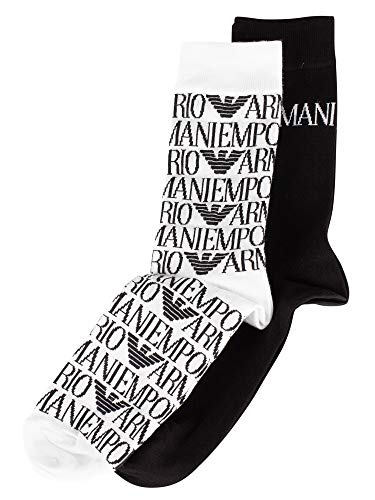 Emporio Armani Herren 2 Pack Calza Logo Socken, Mehrfarbig, One Size
