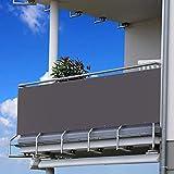 80x600cm Schermo Privacy Frangivista Balcone Frangivento Anti-UV Telo Oscurante Impermeabile Densità 200g/㎡ Giardino terrazza Recinzione Copertura con Fascette e funi/Antracite