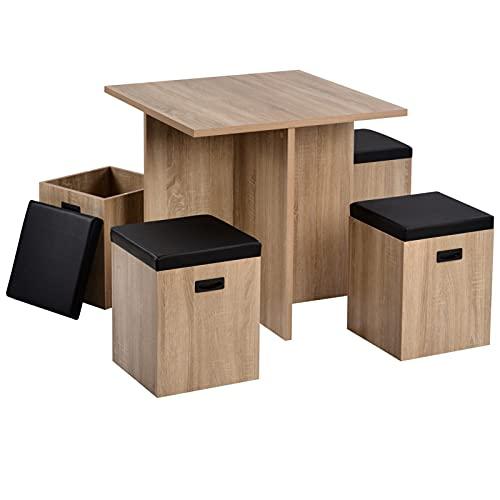 LYUN Conjunto de Mesa de Comedor de 5 Piezas con el Taburete de Almacenamiento, Impermeable y fácil de Limpiar hogar Sala de Estar Comedor Conjunto de Muebles (Color : Marrón)
