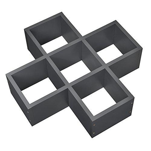 [en.casa] X-förmiges Wandregal Dunkelgrau matt Retro-Design