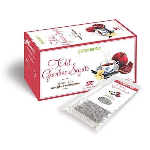 Tè del Giardino Segreto - Regina di Fiori - Tè nero alla Vaniglia e Melograno - 12 filtri da 2,5 grammi