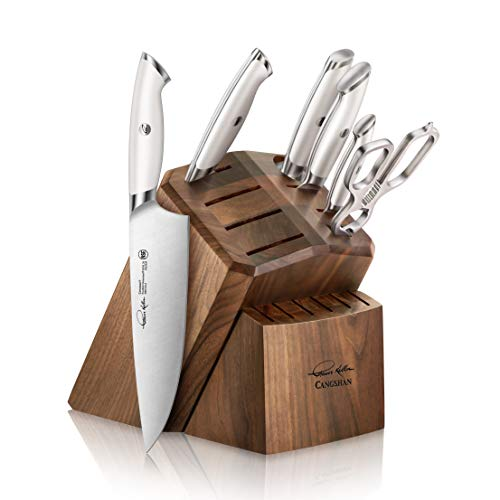 Cangshan Thomas Keller Signature Collection Swedish Powder Steel Forged, 7-Piece Knife Block Set, Walnut Block with 8 Spare Slots, White