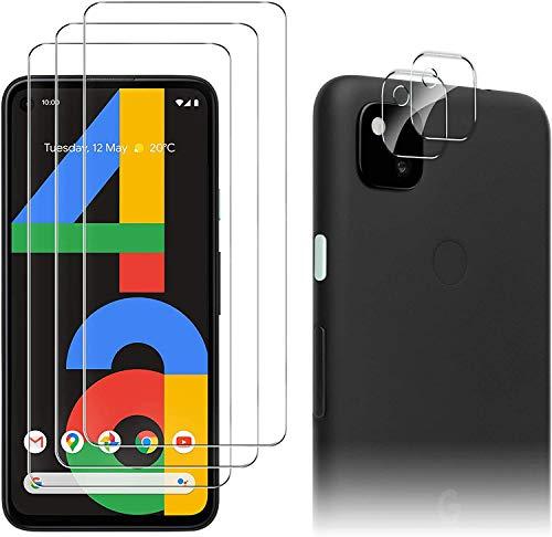 Luibor für Google Pixel 4a Panzerglas (3 Stück) + Kamera Panzerglas (2 Stück),Transparent Anti-Kratzer Anti-Staub Anti-Öl Anti-Bläschen Gehärtetem Glas Displayfolie Schutzfolie