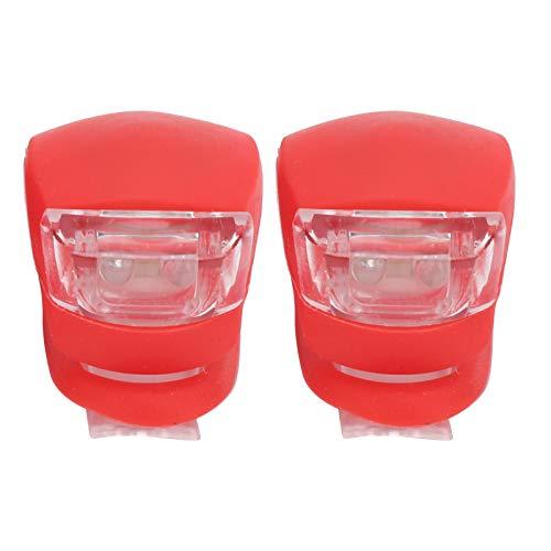 Pwshymi 2 uds, Faro de Bicicleta, luz Trasera, lámpara de Advertencia, Casco de Ciclismo, lámpara, Luces de Silicona Impermeables de Alta Elasticidad para Bicicleta MTB(Rojo)
