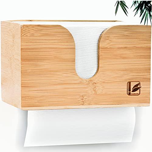 Bamboovia Dispensador de toallas de papel de bambú para fijación a la pared o de pie para la mesa   Dispensador de toallas de papel adecuado para toallas de papel plegable C/V - Fácil instalación