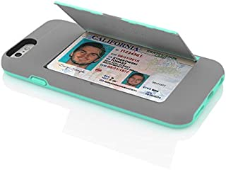 Incipio IPH-1185-GRYTEAL iPhone 6S Case, Stowaway [Kickstand][Credit Card] Wallet Cover fits Both Apple iPhone 6, iPhone 6S - Gray/Teal