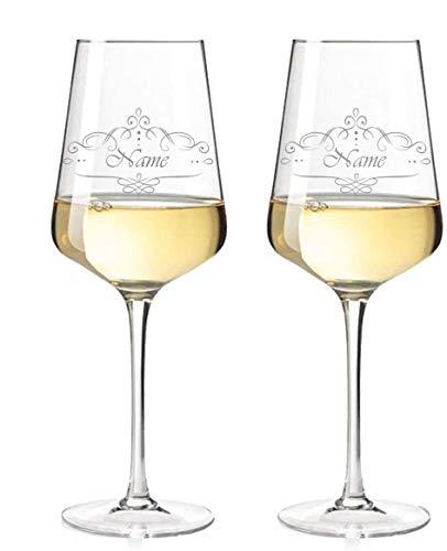 2x Leonardo Weißwein-Weingläser Vintage Weinranke graviert mit Namen & Motiv - Geschenk für Paare - Geschenk für Geburtstag, Jahrestag & zur Hochzeit