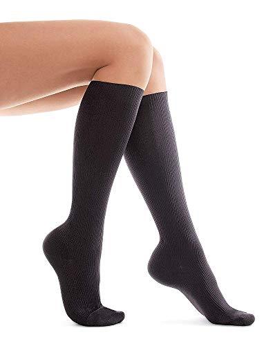 Calcetines de Compresión calcetines para varices, viajes-Estimular la Circulación Sanguínea y Recuperación- medias de Compresión 15-17 mmHg SkinLife M