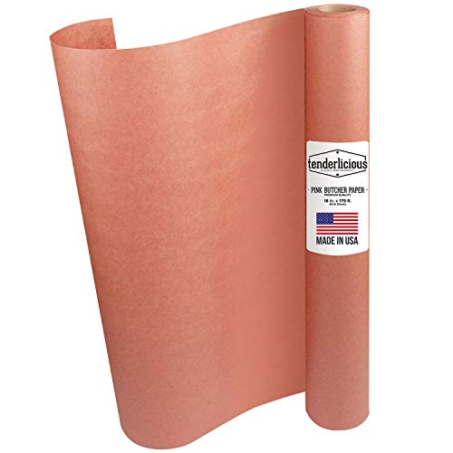 "Pink Butcher Kraft Paper Roll - 18 "" x 175' (2100"") Peach Wrapping Paper for Beef Briskets - USA Made - All Natural Approved Food Grade BBQ Meat Smoking Paper - Unbleached Unwaxed Uncoated Sheet"