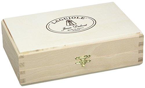 Laguiole Jean Dubost 98/11696 - Servizio Apri ostriche in Cofanetto in faggio e Coltello Apri-ostrica in ABS, Colore: Nero