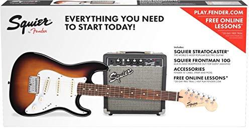 Fender Squier Stratocaster SSS Pack 10G BSB Kit Chitarra Elettrica Brown Sunburst con Amplificatore e Accessori
