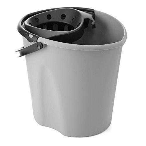 Tatay Cubo de Fregona Oval ECO, de PP, Libre de BPA, Escurridor por Presión, con Asas. Fabricado en España. Color Gris