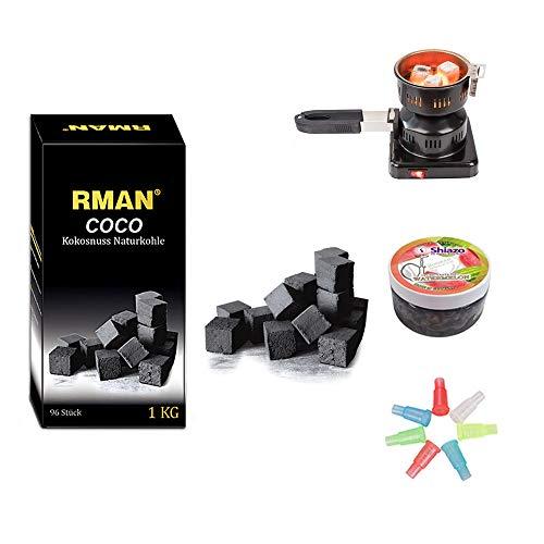 RMAN® Shisha Kohleanzünder mit Kokosnuss Naturkohle 1KG,Shiazo Dampfsteine,Folie,Mundstücke für Wasserpfeife
