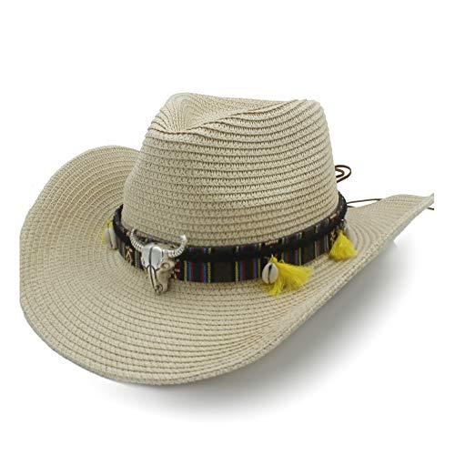 KCBYSS Zomer Zon Hoed Raffia Hoed Cowboy Hoed Dames Casual Lederen riem Koe Hoofd Shell Shuck Hoed Panama Hoed Mannen