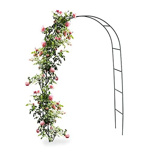 Relaxdays Torbogen Rankhilfe für Kletterpflanzen und Rosen 240 cm, Rosenbogen aus Metall witterungsbeständig, grün