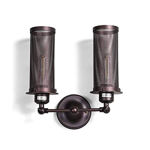YLCJ Wandlamp, vintage-stijl, 2 vlammen, rustiek, industrieel, verstelbaar, wandlamp, metaal, loft, binnenverlichting, decoratieve verlichting, wandlamp, E27, voor bars, keuken, eetkamer, cafés, zwart