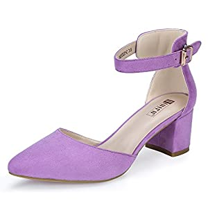 MEASUREMENT: Heel measures approximately 2 inches. SIMPLE BUT DELICATE TREND: These D'Orsay pumps with chunky heels are suitable to wear for a really special occasion. The ankle strap and pointed toe will help you get in on two trends at once. TIMELE...