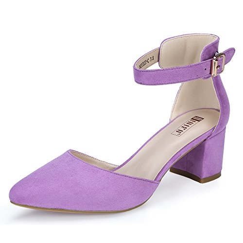 IDIFU Women's IN2 Pedazo Dress Shoes Low Block Heels Comfortable Chunky Closed Toe Ankle Strap Wedding Pumps(Lavender Suede, 6.5 B(M) US)