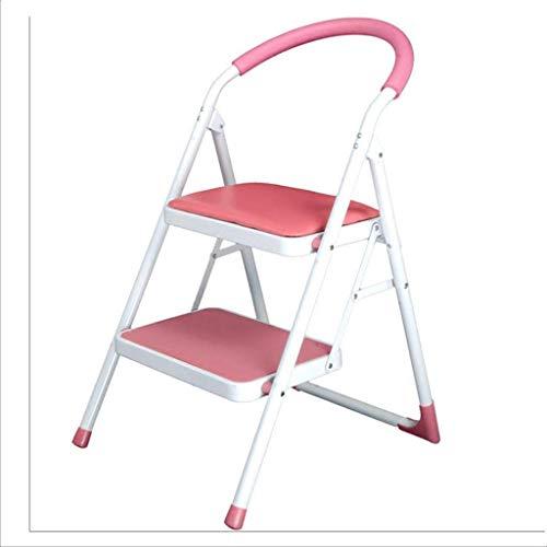 WHF Trittleiter , Leiter , Tritthocker Küchenleiter Metall Zweistufige Leiter Innenklappbalkonleiter Tragbare Leiter Sparen,Rosa,47 X 15 X 97 cm