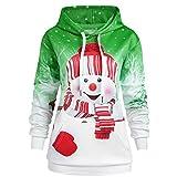 Writtian Sudadera de Navidad para mujer, tallas grandes, con capucha, unisex, impresión 3D, con capucha, con diseño de muñeco de nieve, de manga larga, de Navidad, Mujer, Chaqueta, verde, xx-large
