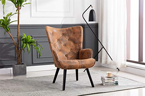 Pannow Velvet Accent Chair, Modern Tufted Button Wingback Vanity Chair, Leisure Chair with Arms Upholstered Tall Back Desk Chair, Solid Wood Legs for Living Room Bedroom Waiting Room