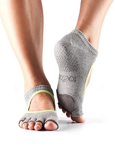 Toesox Half Plie Five Toe Dance Grip Calcetín, Unisex Adulto, Brezo y Lima, Medium