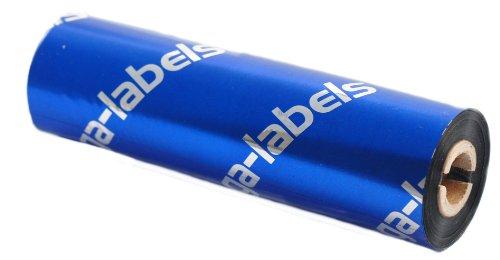 Thermotransfer Farbband schwarz 110 mm x 74 m - zega quantum (Harz Kratzfest) - für Desktopdrucker Zebra GK/GX/GC/TLP mit 1/2 Zoll Kern 12,7 mm - aussen gewickelt - für Kuststoffetiketten Bedruckung (PE-Folie, PP-Folie, PET Polyesterfolie) mit höchster Kratz-/Abriebsfestigkeit