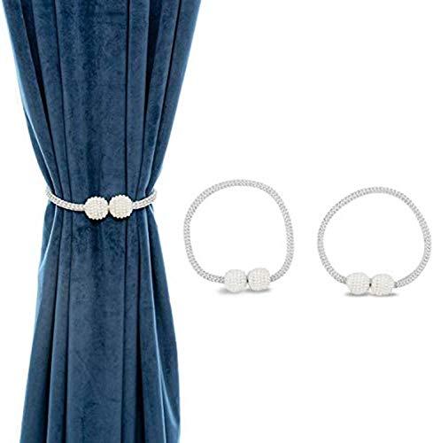 Fullgaden 2 Pcs Magnetic Curtain Tiebacks Convenient Drape Tie Backs Pearl Decorative Rope Holdback Holder for Small, Thin or Sheer Window Drapries, Gray