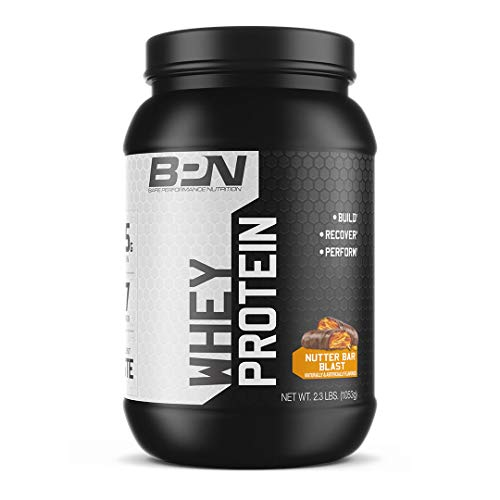 Bare Performance Nutrition, Whey Protein Powder, Meal Replacement, 25G of Protein, Excellent Taste & Low Carbohydrates, 88% Whey Protein & 12% Casein Protein (Nutter Bar Blast)