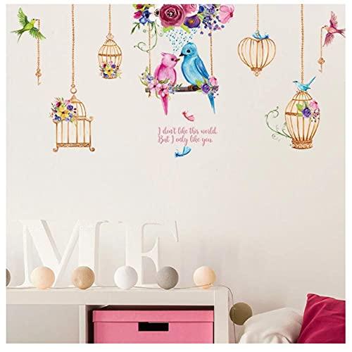 KBIASD Pegatinas de pared de pájaros coloridos decoración del hogar en forma de jaula para sala de estar dormitorio habitación de niños calcomanías creativas de pared de 141x64 cm