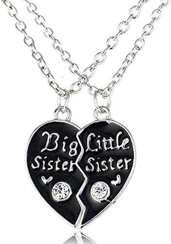 Aluyouqi Co.,ltd Collar 2 Piezas/corazón de Hermana contactado Colgante Collar Simple Amor Chica Colgante Collar de corazón Roto