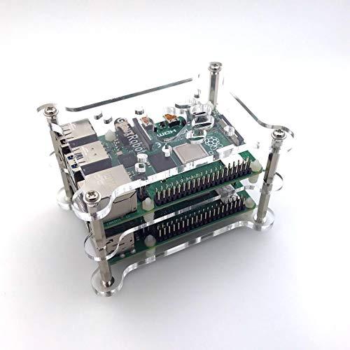 GeauxRobot Raspberry Pi 4B 2-Layer Dog Bone Stack Clear Case Box Enclosure Also for Pi 3B+ 3B 2B B+ A+
