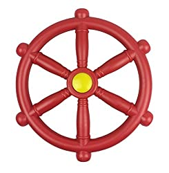 Red Kids Pirate Steering wheel for Climbing Frames, Tree houses & Play houses Diameter of wheel 300mm. Includes Fixing bolt, washer and bolt cover suitable for fixing this item to wood, Made from injection moulded HDPE. Available in Blue, Green & Red...