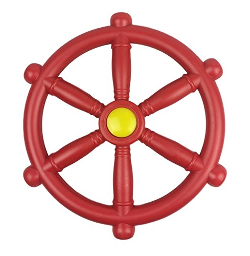 HIKS Red Pirate Ship Steering Wheel 30cm, Ideal For Kids Childrens Climbing Frame, Tree House & Play House (Also Available In Blue & Green)