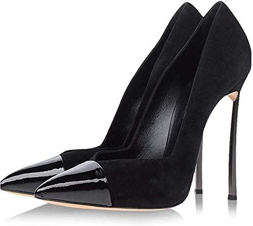 Hoge hakken dames dames enkele schoenen mode ondiepe schoenen puntige stiletto hoge hakken slip-on pumps groot formaat-43 I_ZwartBeautiful
