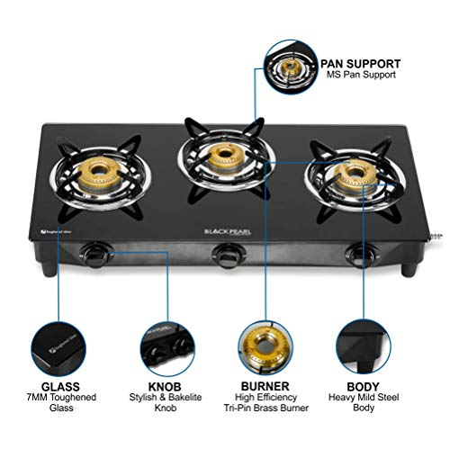 Black Pearl Lifestyle Glass Top Gas Stove, 3 Burner Gas Stove, 2 Years Warranty, Doorstep Service - Black, Manual