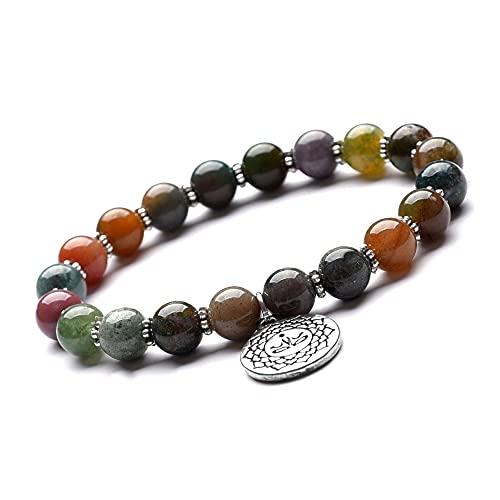 Pulsera de protección única de chakra contra las energías negativas, ágata de 8 mm, perlas de ágata, piedras curativas, calidad