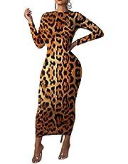 HEFASDM المرأة طويلة الأكمام ليوبارد الجسم الطباعة نمط مرونة اللباس