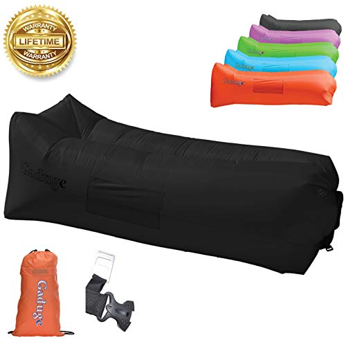 Gaduge Outdoor Inflatable Lounger & Pool Chair, Hangout Sofa & Inflatable Couch for Bedroom, Floats on Water - Includes Pockets, Comfy Headrest, Bottle Opener, Stake & Bag(Black)