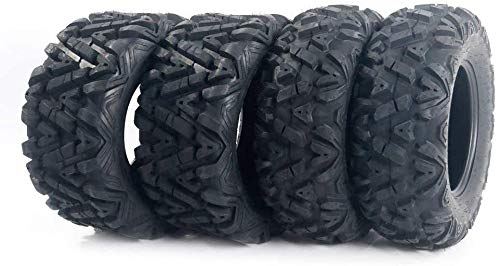 "Set of 4 All Terrain ATV UTV Tires 25"" 25x8-12 Front & 25x10-12 Rear 6PR Deep Mud Tubeless"