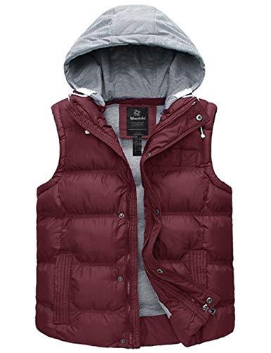 Wantdo Lady's Water Resistant Winter Puffer Vest Outdoor Jacket Wine Red Medium