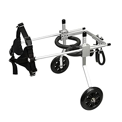 anmas sports Adjustable Dog Wheelchair Dog Cat Cart Wheels Three Sizes for Hind Legs Rehabilitation (Medium)