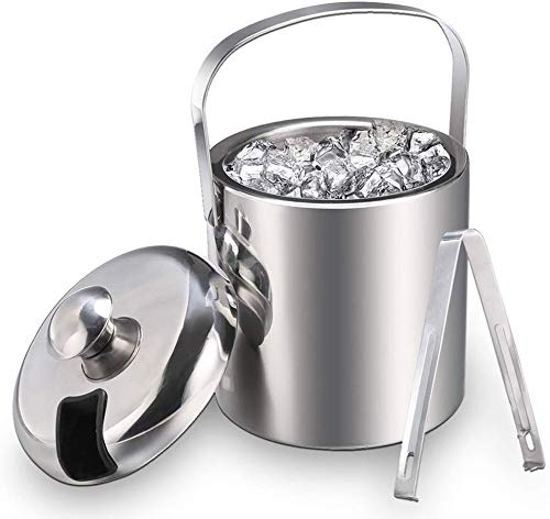 Eiseimer Eisbehälter sektkühler eiswürfelbehälter mit Zange und Deckel Edelstahl Weinkühle eiskübel eiskühler Doppelwand-Isolierung für besonders Lange Kühlung 1.3 L, Silber