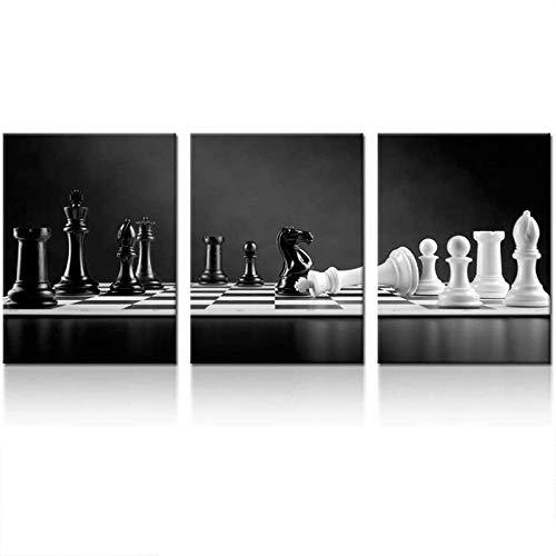 VVBGL Nero e Bianco Scacchi Scacchiera Parete Arte scacco Matto Spostamento su Scacchiera Poster Scacchi Tela Quadri Parete Decorazioni per Soggiorno Camera 40 x 60 cm x 3 No Cornice