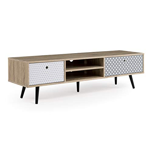 Homely - Mueble de TV de diseño Vintage Tatiana MDF y Madera en Roble, Blanco y Negro 150x30 cm