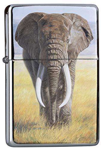Chrom Sturm Feuerzeug Benzinfeuerzeug aus Metall Aufladbar Winddicht für Küche Grill Zigaretten Kerzen Bedruckt Elefant Zoo Elefant Bulle Steppe