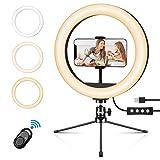 Emuni Anillo de luz LED 10 Pulgadas con trípode y Soporte para teléfono, Anillo de luz para Selfies, Maquillaje y Videos de Youtube, Control Remoto inalámbrico