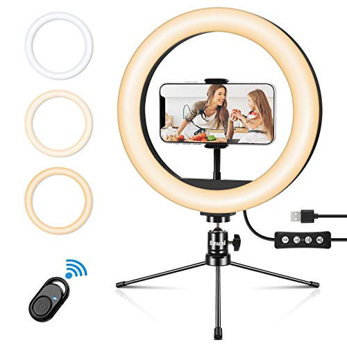 Emuni 10'' LED Ring Light with Tripod Stand & Phone Holder, Desk Makeup Selfie RingLight for YouTube Video, 3 Light Modes 10 Dimmable Brightness, Wireless Remote Compatible with iPhone Android