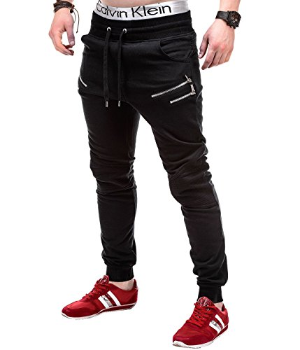 BetterStylz Sascha Jogginghose Slim Fit Sweatpants Jogger Fitness Trainingshose Paris Style Schwarz (M)